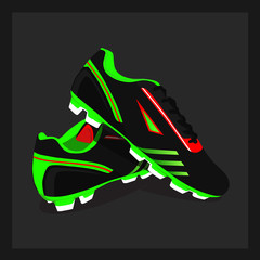 Stylish comfortable sneakers for football, vector, illustration