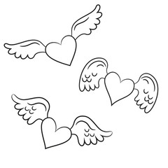 Hearts with wings on the white background for your design.