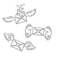 Cartoon envelopes with wings and hearts on the white background.