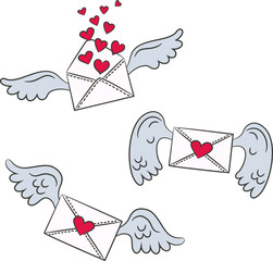 Cartoon envelopes with wings and hearts.