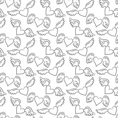 Seamless pattern with hearts and wings.