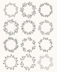 Big collection of hand drawn wreaths. Vector. Isolated.