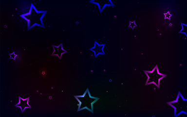 Vector illustration. Abstract background. Multicolored stars on a dark background.