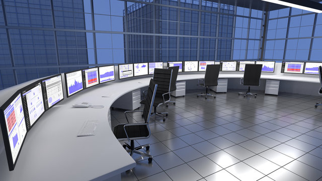 Security / Network Operations Center at the top of a Sky Scraper Building. 3D render
