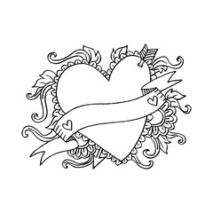 Heart and arrow hand darwing frame.