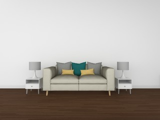 3D Rendering living room isolated on white background, interior