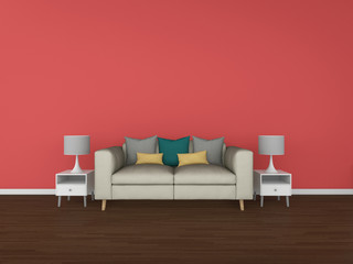 3D Rendering living room isolated on colorful background, interi