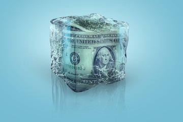 Frozen USD money in ice cube