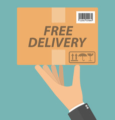 Free delivery concept. Hand holding cardboard package with delivery signs, free delivery text and barcode on it. Flat design