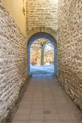 Narrow stone corridor