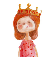 Red-haired girl in crown and dress with hearts. Watercolor illustration. Hand drawing