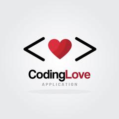 Love Coding Logo Design Template with heart design concept. Software company logo template. Vector illustration. Software development, Software application, Mobile application development.