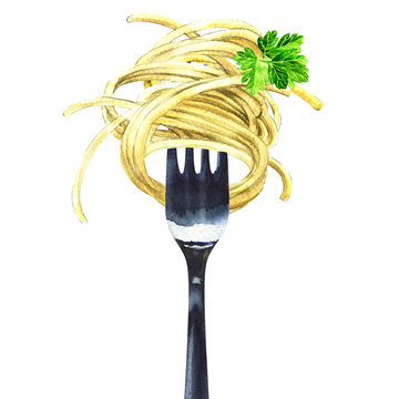 Fork with spaghetti, noodles, pasta, green parsley, isolated, watercolor illustration