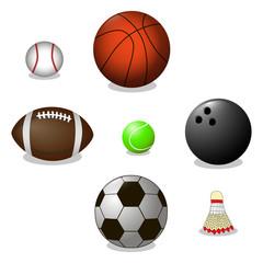 Vector illustration of logo for ball game basketball,football,bowling,baseball,tennis,badminton.Flying shuttlecock,balls close-up on background.Balls drawing consisting of shuttlecock sport equipment.