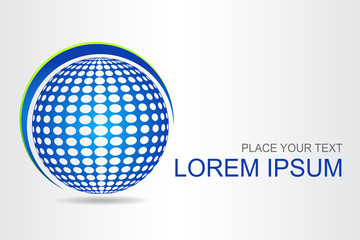 Logo stylized spherical surface with abstract shapes