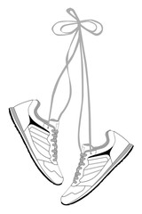 Stylish comfortable sneakers for training with long laces, vector, illustration