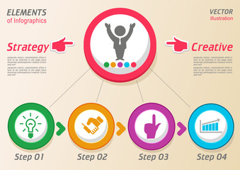 Design abstract  infographic template 4 steps for business concept. Infographic template can be used to build a workflow scheme, the number of options, terms and stages of the project.