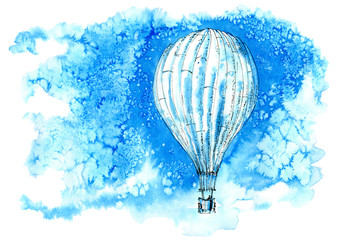 Hot air balloon in the sky. Abstract image.Watercolor hand drawn illustration.