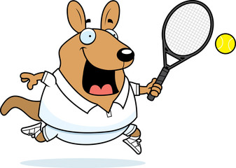 Cartoon Wallaby Tennis
