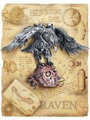 Steampunk Raven mechanical robot skull silent Leonardo da vinci