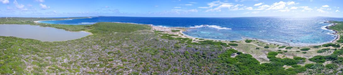 Printed kitchen splashbacks Khaki Aerial view of Savannah Bay, East Side Anguilla, Caribbean