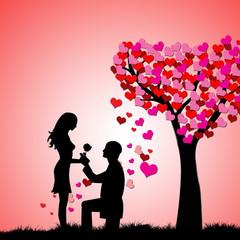 Man,women and love tree,illustration