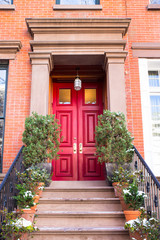 Typical Entrance door to a New York City apartment building residential home