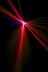 Laser beam red on a black background