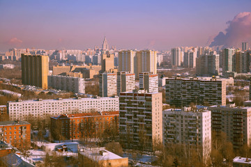View of the houses of the city of Moscow. The city's skyline, multistory building MSU in the distance.