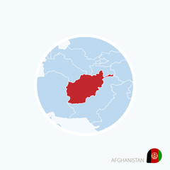 Map icon of Afghanistan. Blue map of South Asia with highlighted Afghanistan