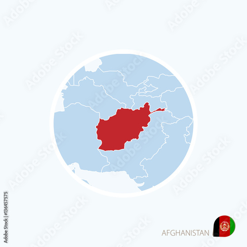 Map Icon Of Afghanistan Blue Map Of South Asia With Highlighted