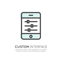 Vector Icon Style Illustration Logo of API Application Programming Interface, Custom Settings and Preferences, Sliders on Mobile Phone Screen Touch