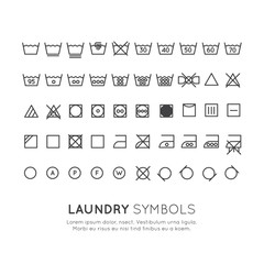Garment care symbols set. The symbols on the labels of clothes washing, wringing, drying, ironing, thin line design. Conventional linear signs