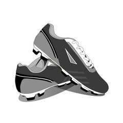 Stylish fashionable sneakers for football, vector, illustration,