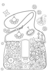 Coloring book page for adults. Bag with flowers and buttons.