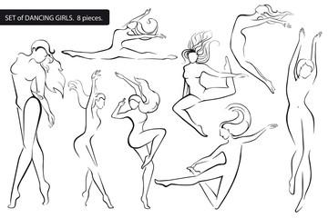 Set.  Silhouettes of dancing girls.