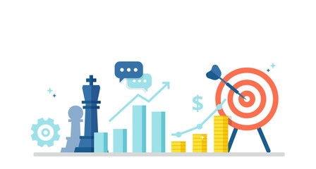 Business concept with icons of chess pieces, schedule, profit and purpose. Marketing strategy banner in flat style. Vector illustration for your design.