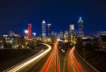 timelapse of traffic in downtown Atlanta Fotobehang