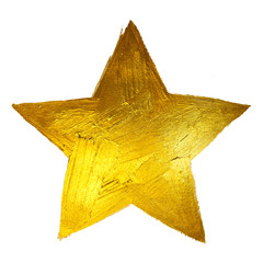 Gold Star. Shining Paint Stain Hand Drawn Illustration