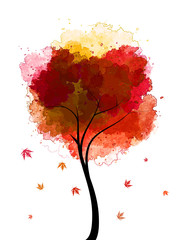 Vector autumn tree - watercolor maple