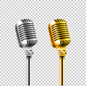 Different concert microphones collection vector illustration iso