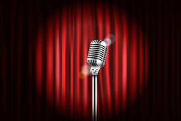 Stage curtains with shining microphone vector illustration. Stan