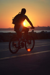 Bicycling At Istanbul Sunset, Turkey