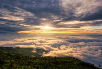 Tuinposter Ochtendgloren Sunset cloud