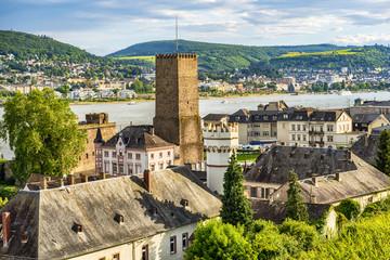 Blick auf die alten Gemäuer von Rüdesheim am Rhein, Deutschland