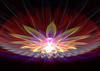 Fractal Spiritual Lotus - Sacred Geometry  - Fractal Art - 3D image
