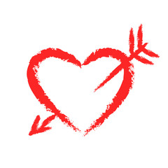 Vector hand-drawn chalk red heart with arrow.