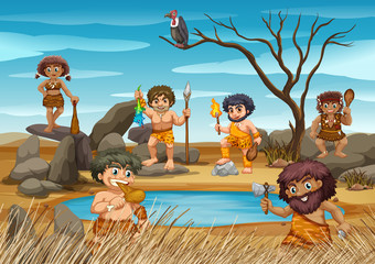 Cavemen living by the pond