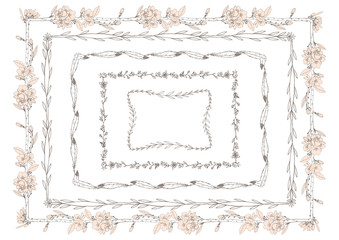 Square floral frames. Isolated objects