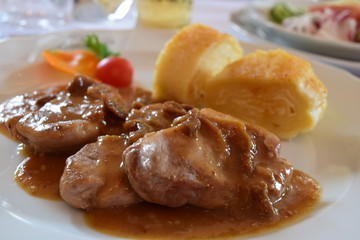 Traditional Slowenian Food - Pork Tenderloin with Cheese Strudel